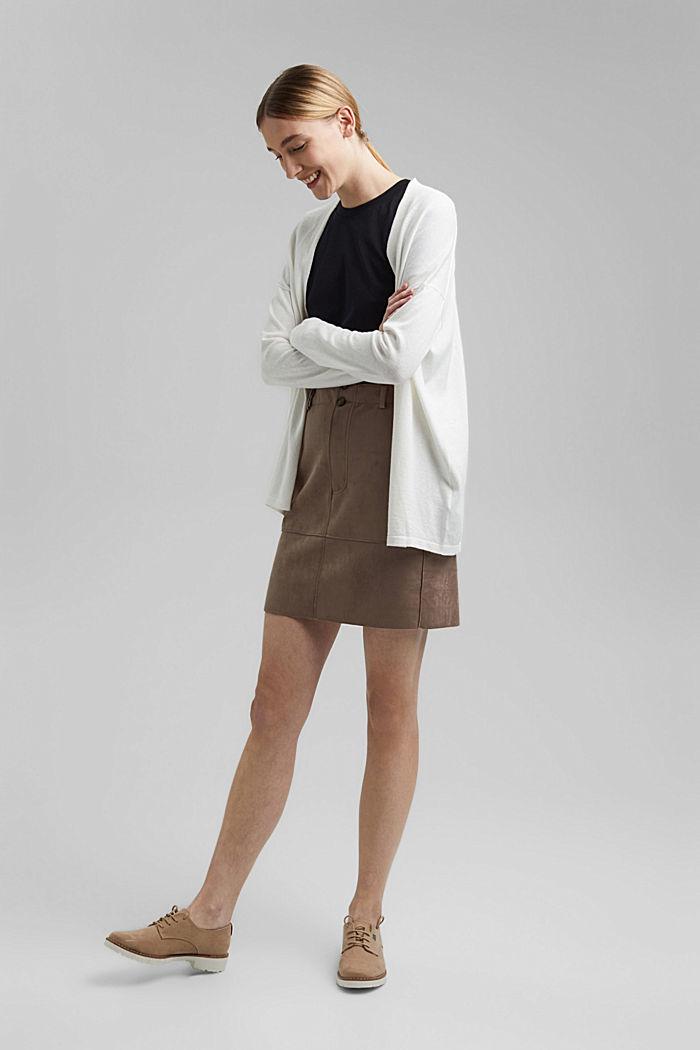 Mit Leinen: Basic Cardigan mit Organic Cotton, OFF WHITE, detail image number 1