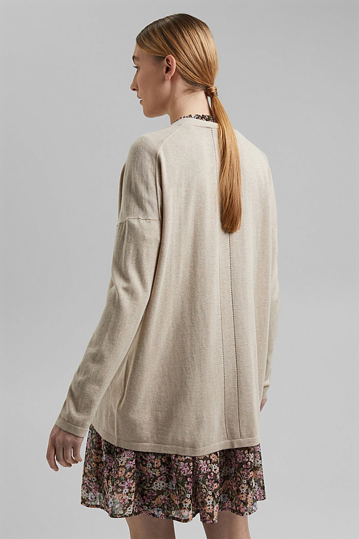 Blended linen basic cardigan with organic cotton, SAND, detail image number 3