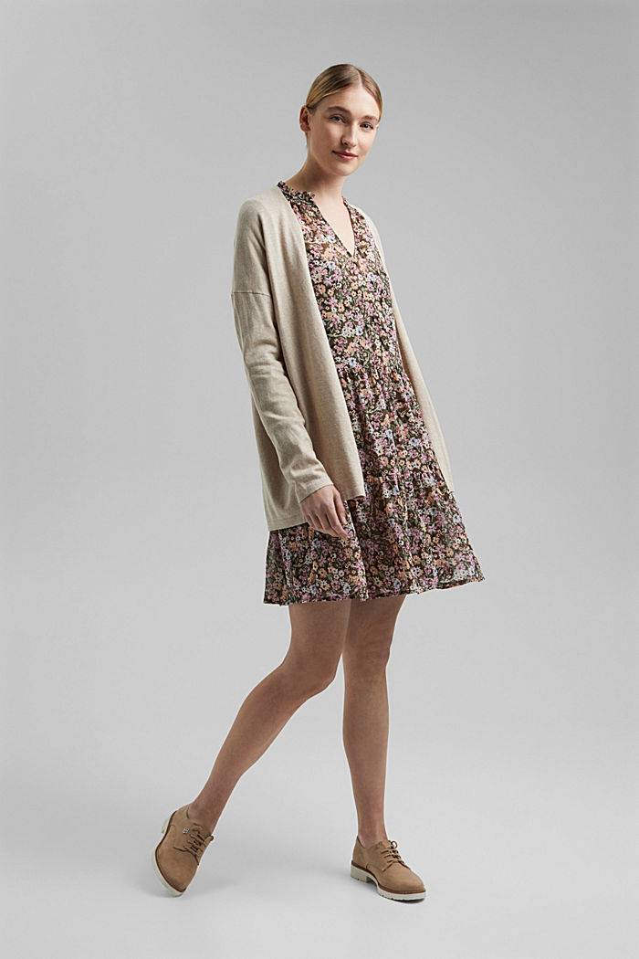Blended linen basic cardigan with organic cotton, SAND, detail image number 1