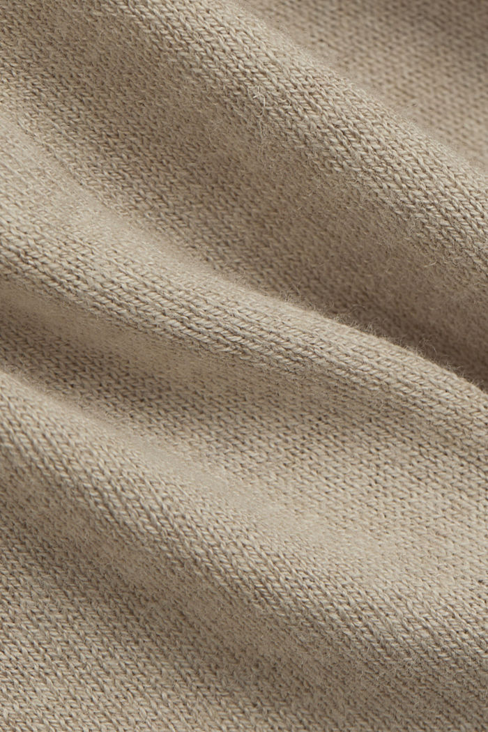 Blended linen basic cardigan with organic cotton, SAND, detail image number 4