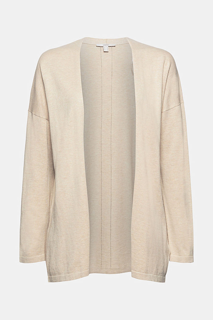 Blended linen basic cardigan with organic cotton, SAND, detail image number 6