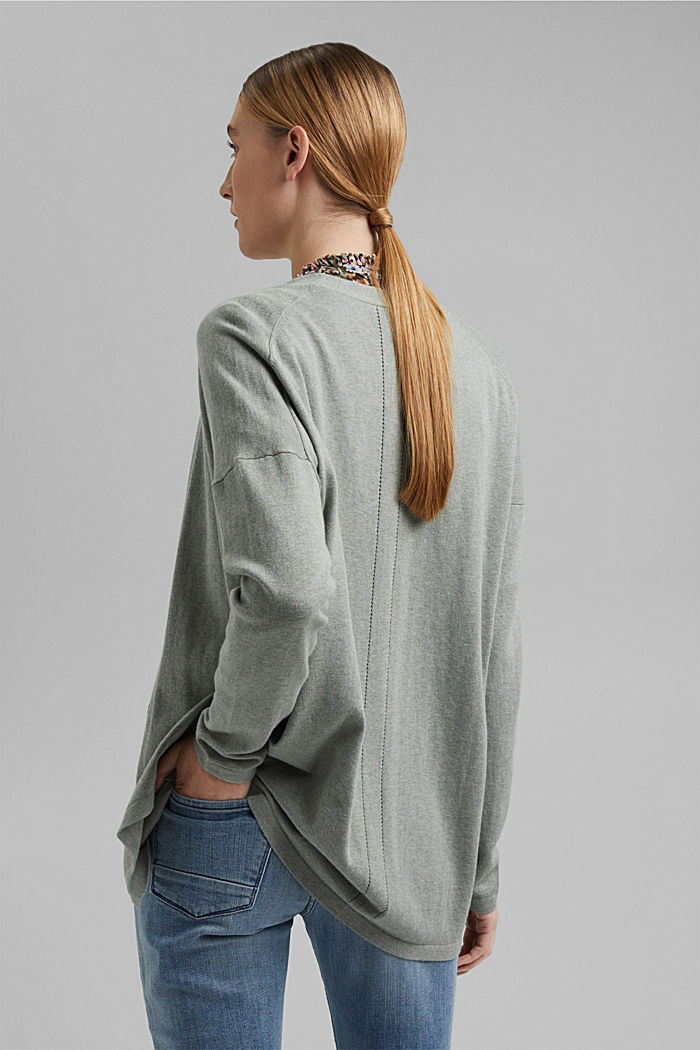 Blended linen basic cardigan with organic cotton, DUSTY GREEN, detail image number 3