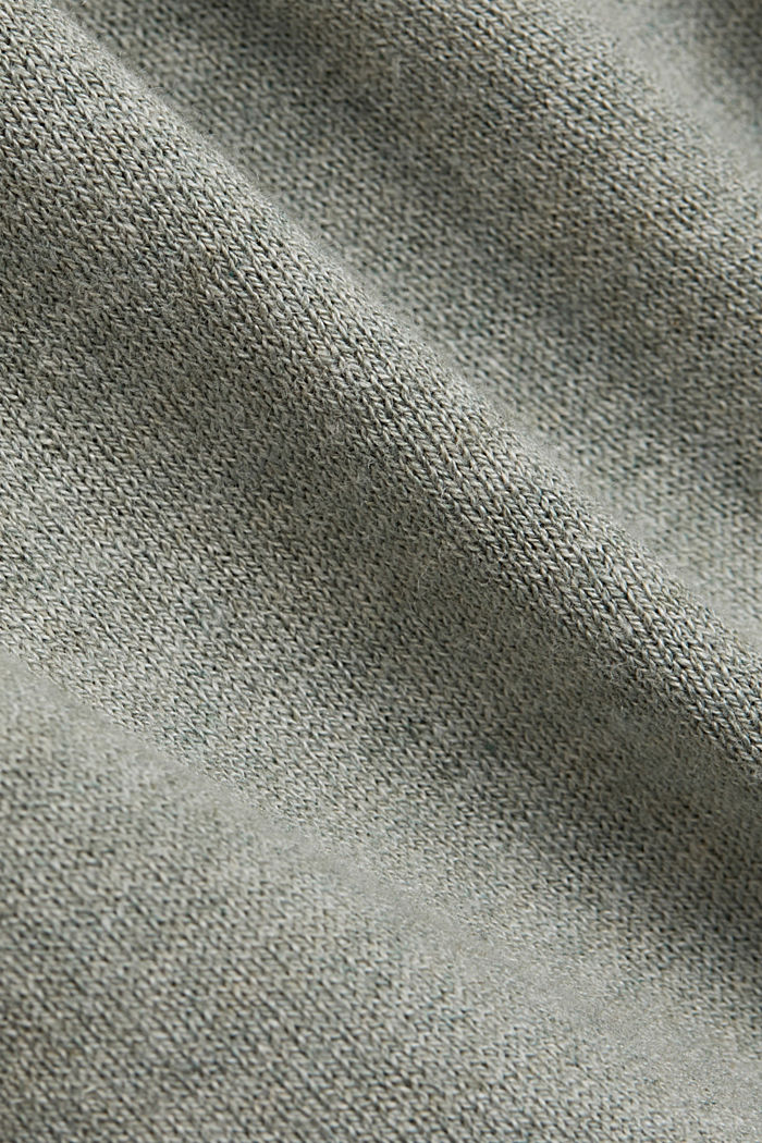 Blended linen basic cardigan with organic cotton, DUSTY GREEN, detail image number 4