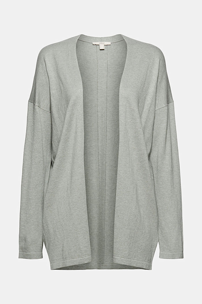 Blended linen basic cardigan with organic cotton, DUSTY GREEN, detail image number 5