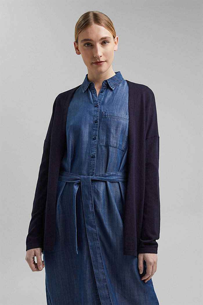 Blended linen basic cardigan with organic cotton, NAVY, detail image number 0