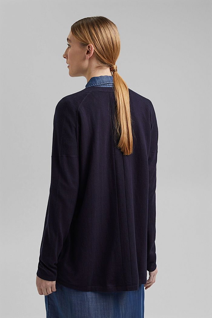 Blended linen basic cardigan with organic cotton, NAVY, detail image number 3