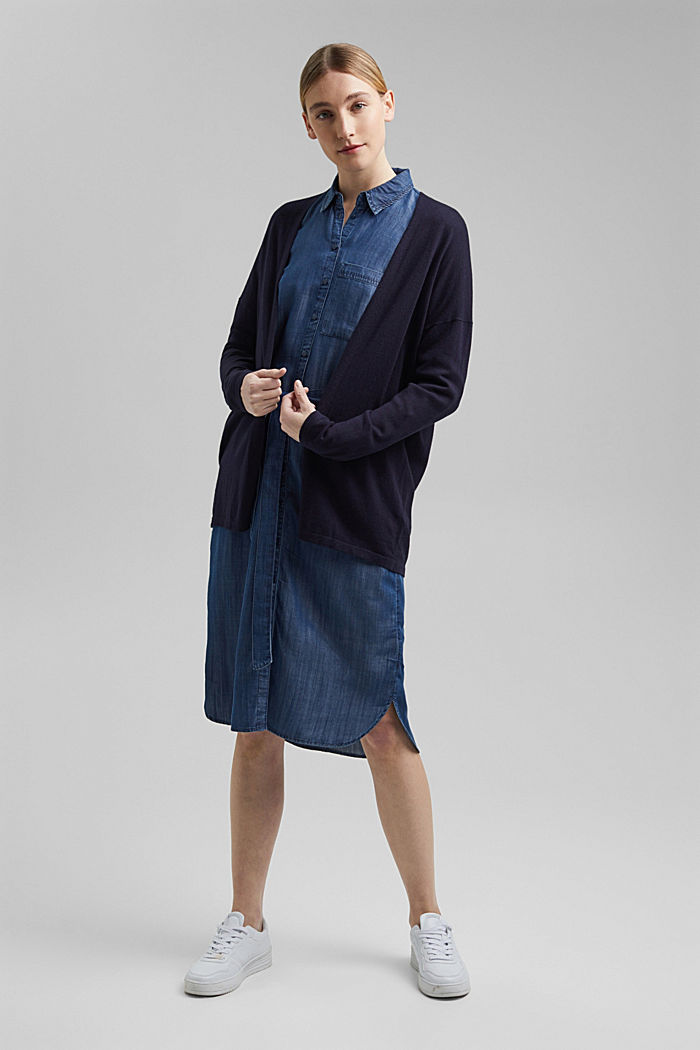 Blended linen basic cardigan with organic cotton, NAVY, detail image number 1