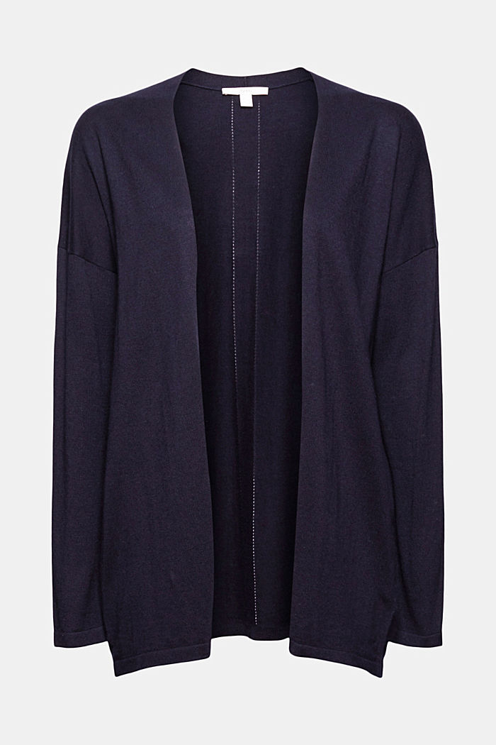 Blended linen basic cardigan with organic cotton, NAVY, detail image number 5