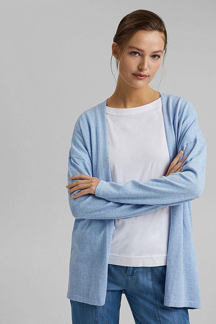 Met linnen: basic vest met biologisch katoen, PASTEL BLUE, detail image number 0