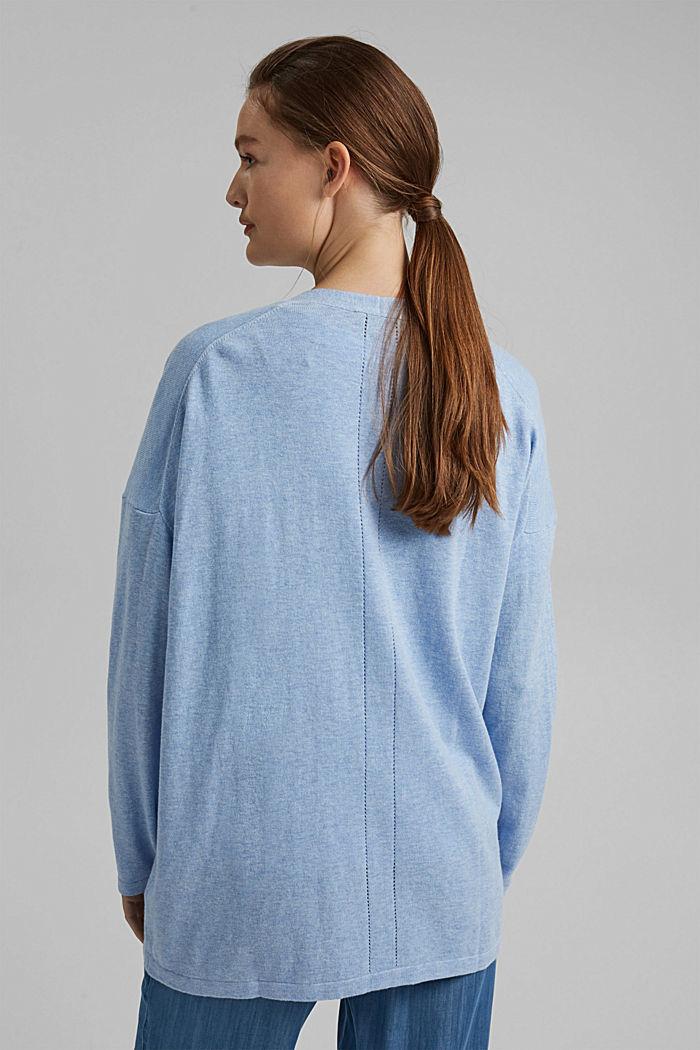 Met linnen: basic vest met biologisch katoen, PASTEL BLUE, detail image number 3