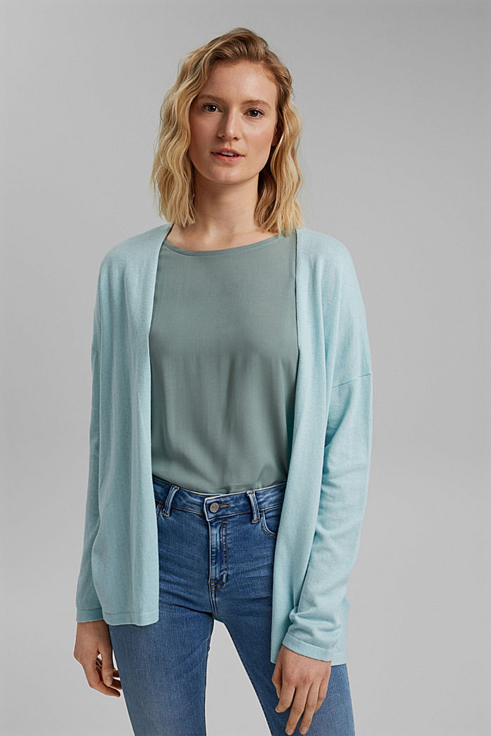 Blended linen basic cardigan with organic cotton, LIGHT TURQUOISE, detail image number 0
