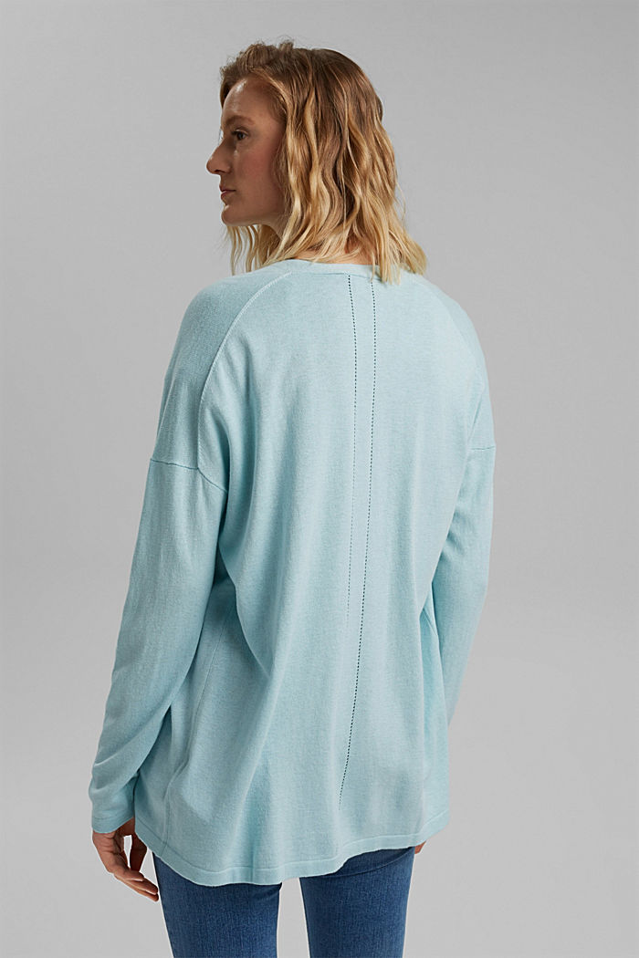 Blended linen basic cardigan with organic cotton, LIGHT TURQUOISE, detail image number 2