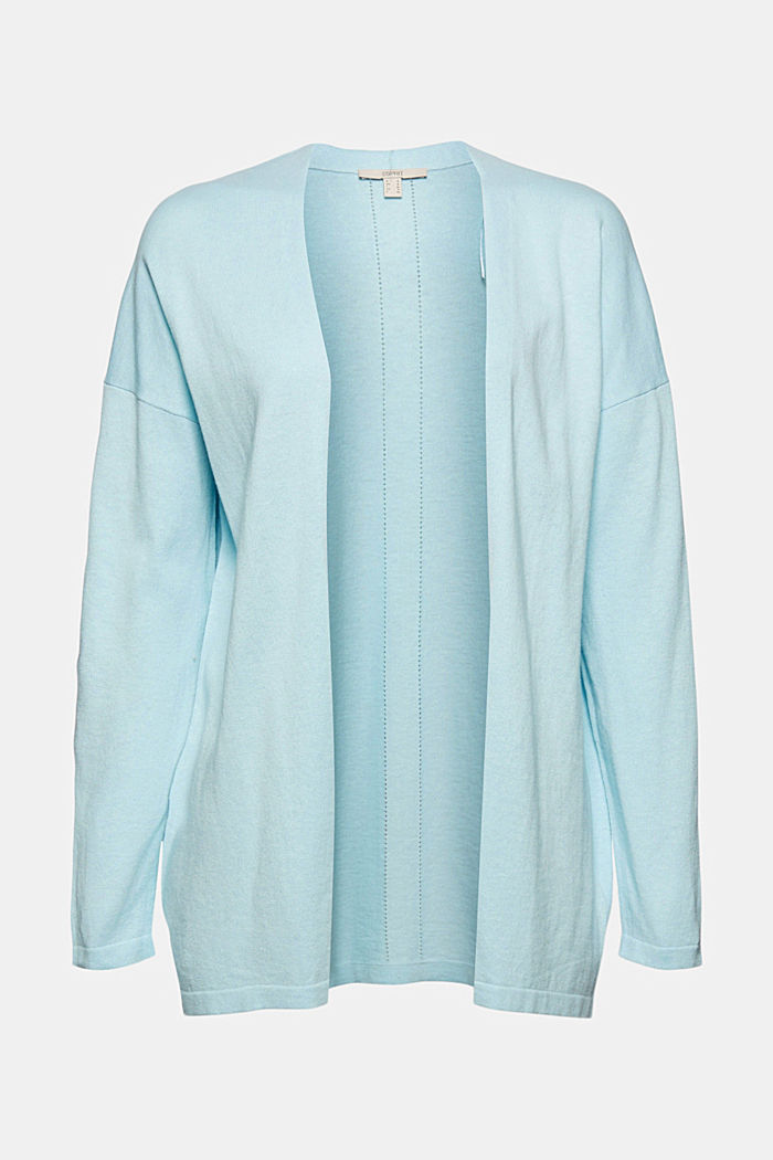 Blended linen basic cardigan with organic cotton, LIGHT TURQUOISE, detail image number 4