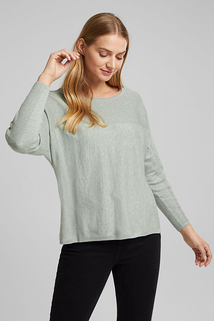Jumper made of 100% organic cotton, DUSTY GREEN, overview