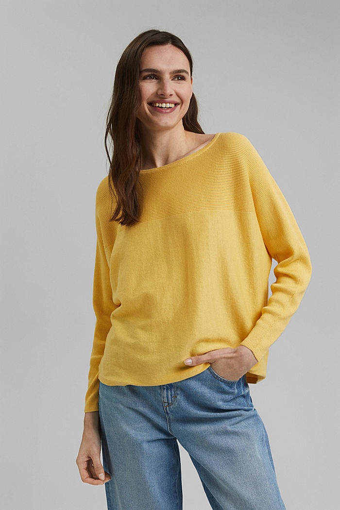 Jumper made of 100% organic cotton, SUNFLOWER YELLOW, detail image number 0