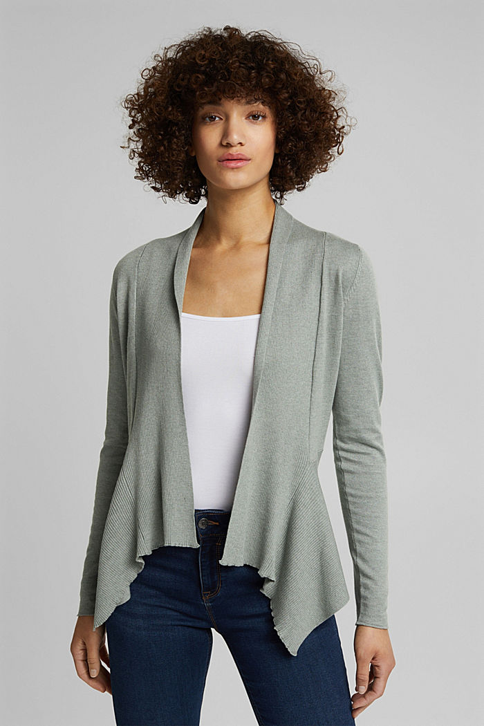 Open cardigan with organic cotton, DUSTY GREEN, detail image number 0