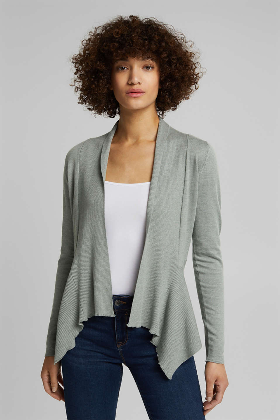 Esprit - Open cardigan with organic cotton