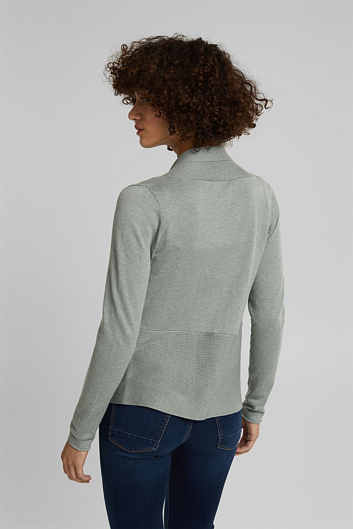 Open cardigan with organic cotton, DUSTY GREEN, detail image number 3