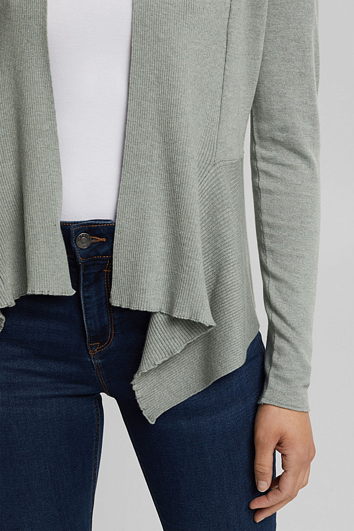 Open cardigan with organic cotton, DUSTY GREEN, detail image number 2