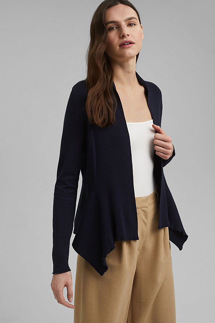 Open cardigan with organic cotton, NAVY, detail image number 0