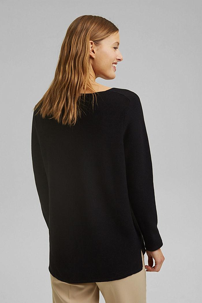 Jersey con cuello en pico de algodón ecológico, BLACK, detail image number 3