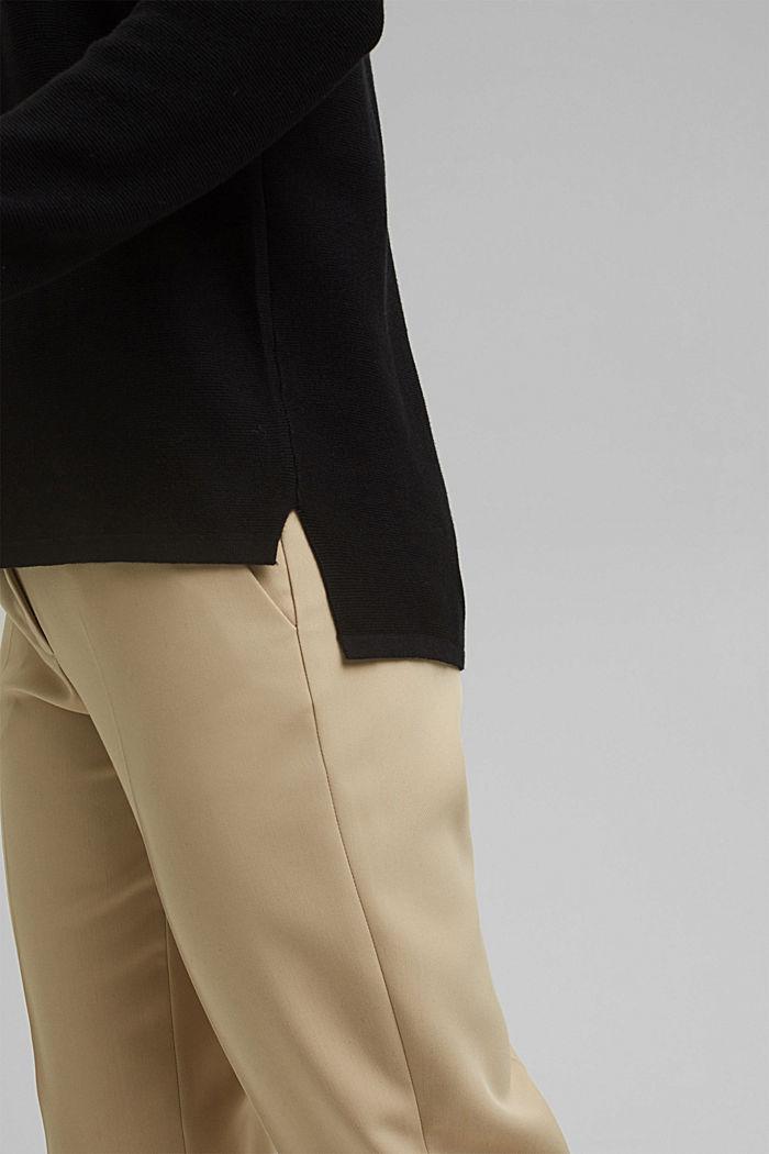 Jersey con cuello en pico de algodón ecológico, BLACK, detail image number 2