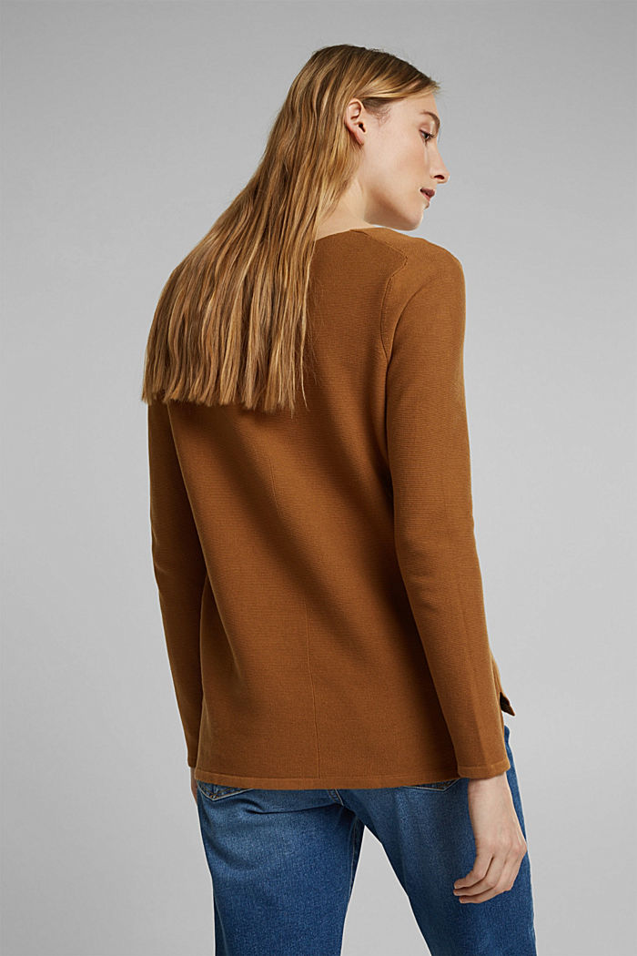 V-Neck-Pullover aus Organic Cotton, CAMEL, detail image number 3