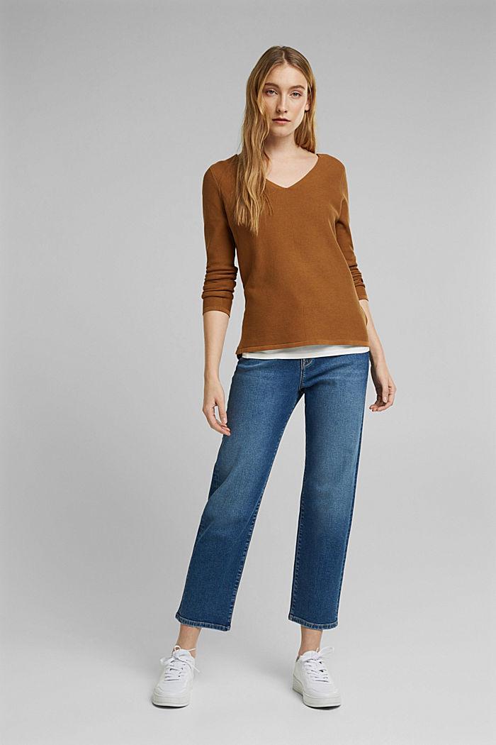 V-Neck-Pullover aus Organic Cotton, CAMEL, detail image number 1