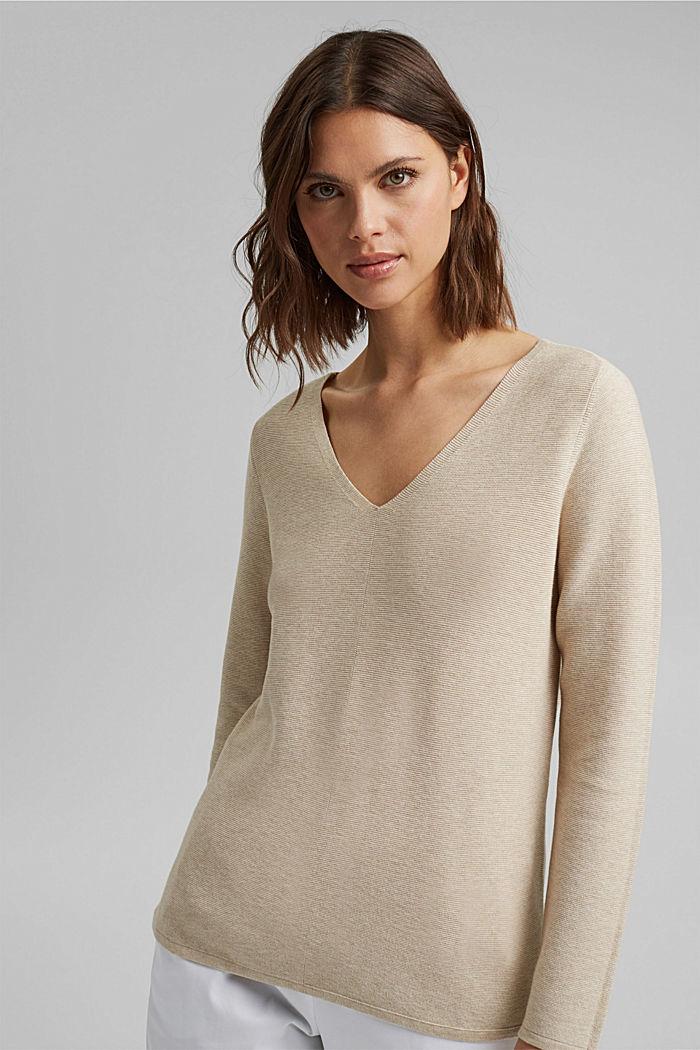 V-neck jumper made of organic cotton, SAND, detail image number 0