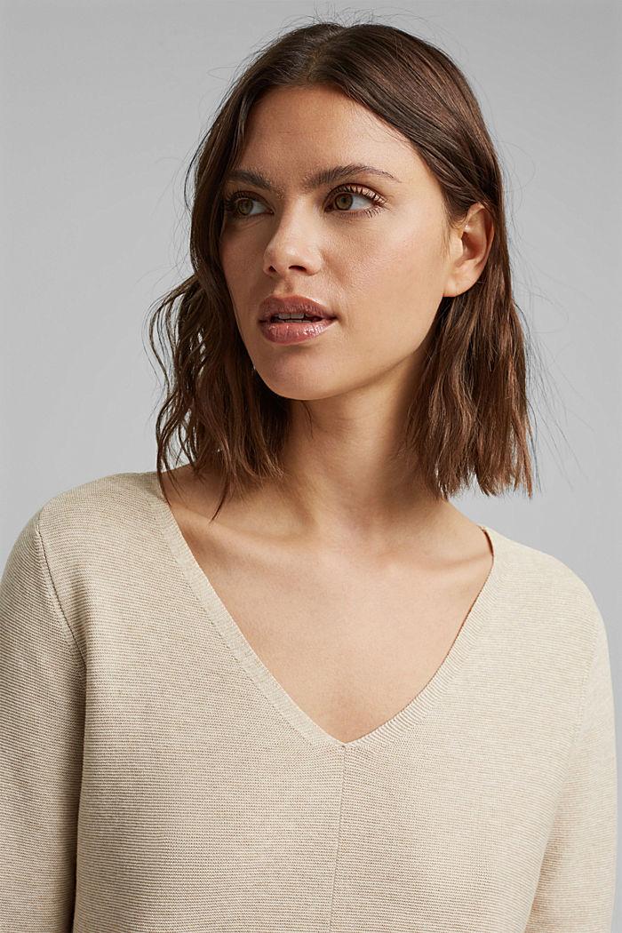 V-neck jumper made of organic cotton, SAND, detail image number 5