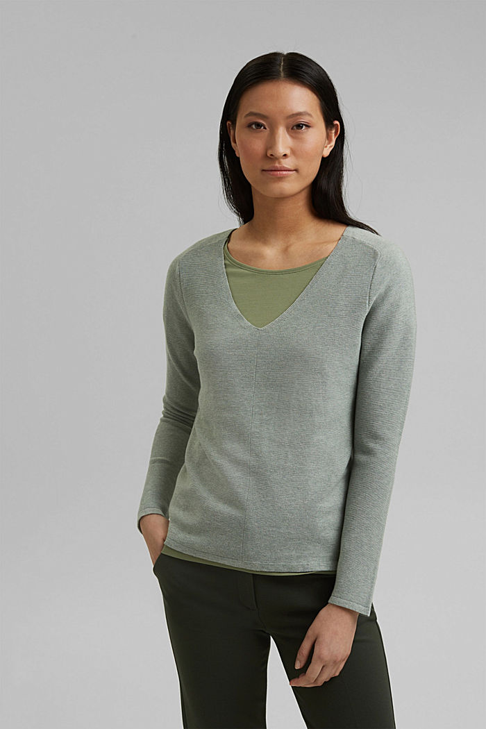 V-neck jumper made of organic cotton, DUSTY GREEN, detail image number 0