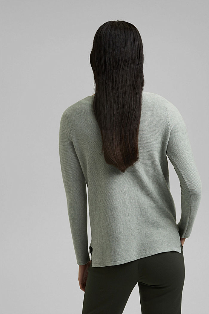 V-neck jumper made of organic cotton, DUSTY GREEN, detail image number 3