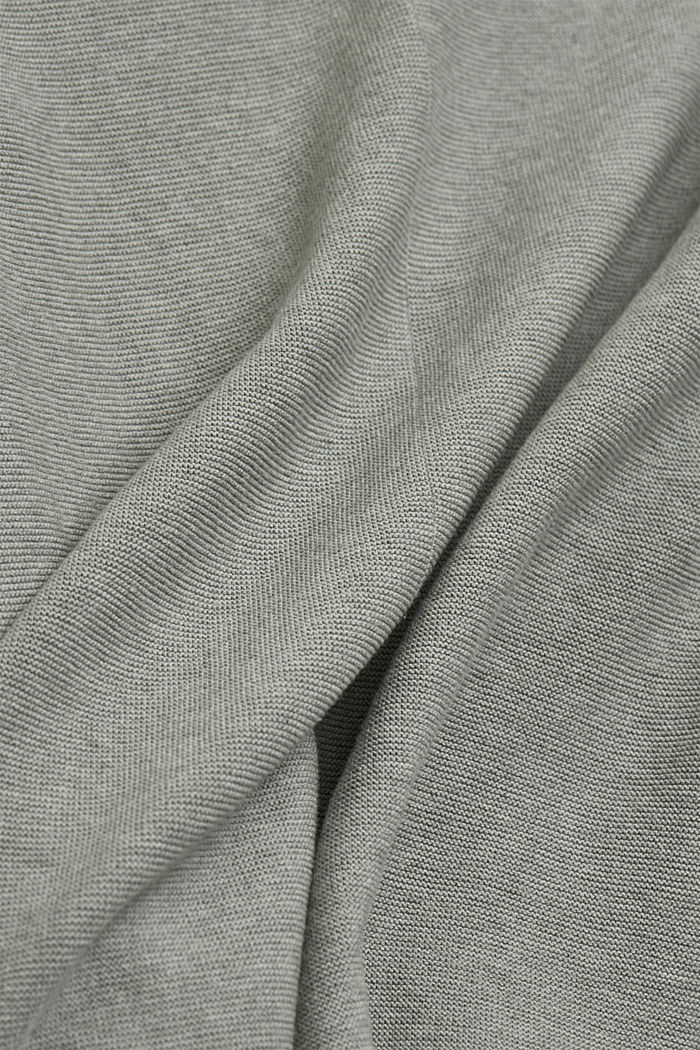 V-neck jumper made of organic cotton, DUSTY GREEN, detail image number 4