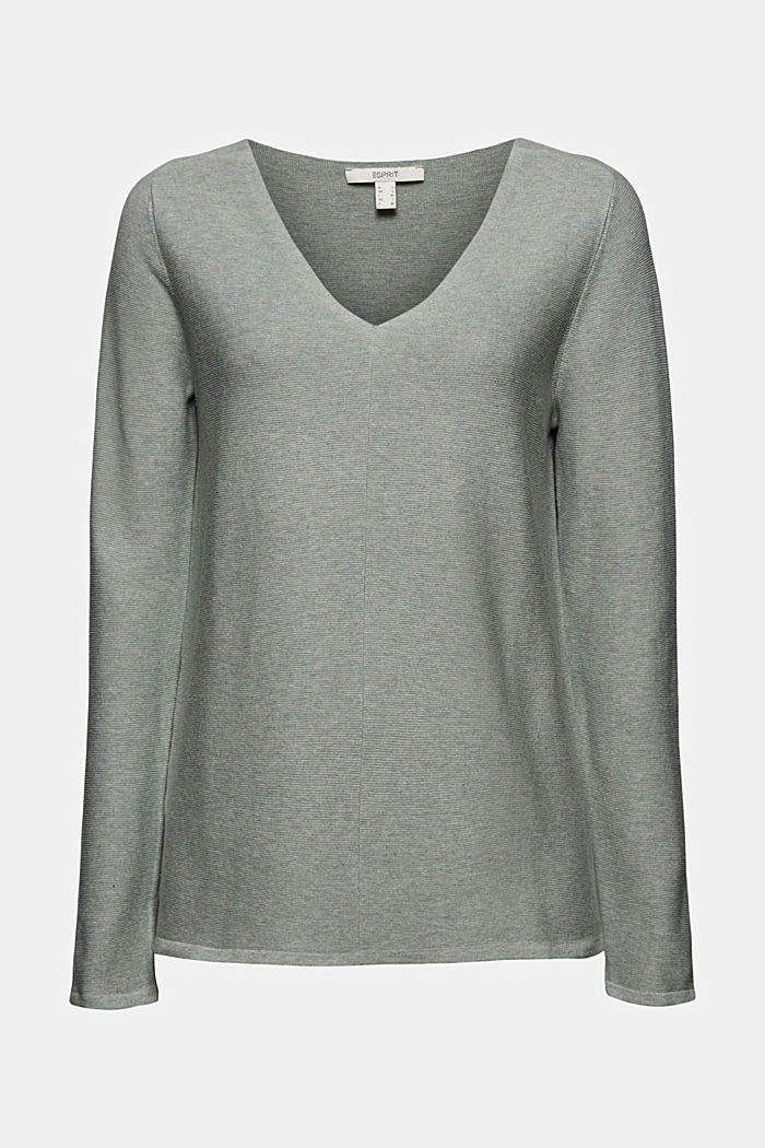 V-neck jumper made of organic cotton, DUSTY GREEN, detail image number 5