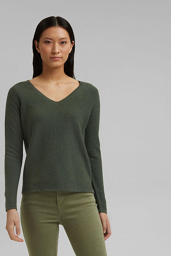 V-neck jumper made of organic cotton, KHAKI GREEN, detail image number 0