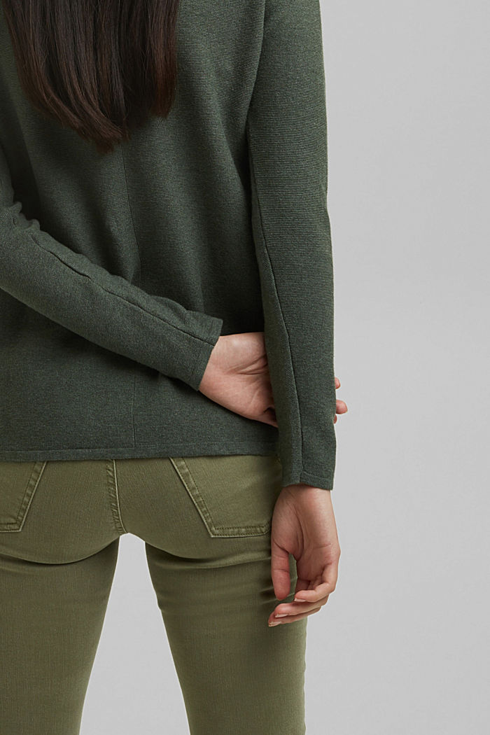 V-neck jumper made of organic cotton, KHAKI GREEN, detail image number 5