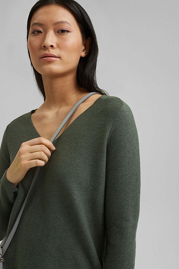 V-neck jumper made of organic cotton, KHAKI GREEN, detail image number 6