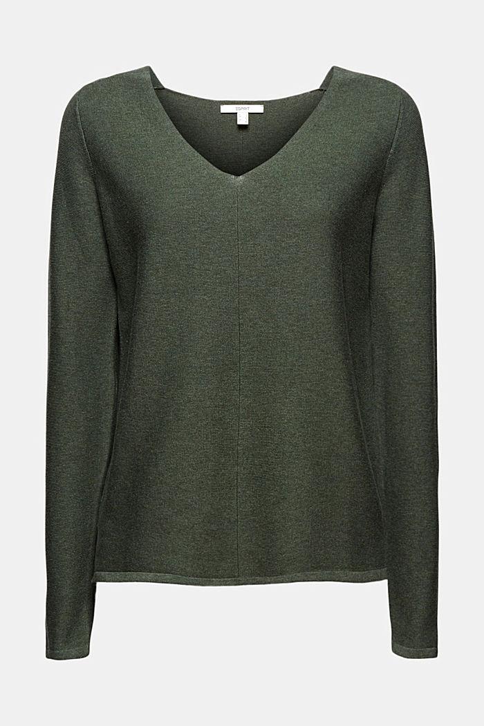 V-neck jumper made of organic cotton, KHAKI GREEN, detail image number 7