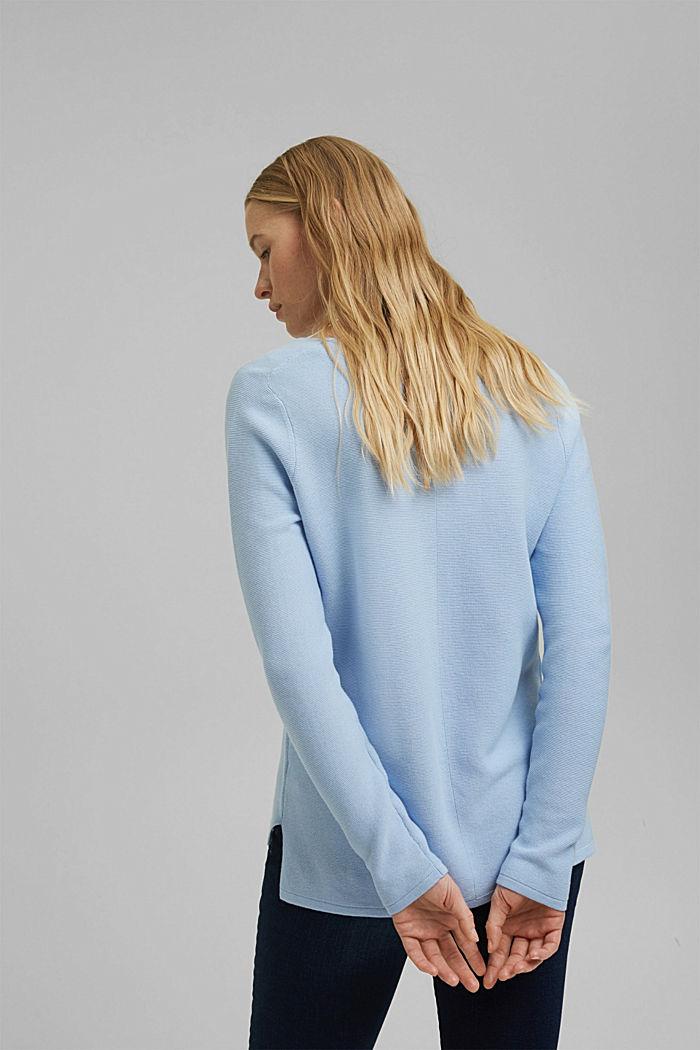 V-neck jumper made of organic cotton, PASTEL BLUE, detail image number 3
