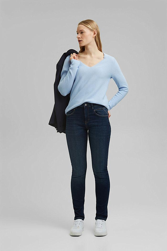 V-neck jumper made of organic cotton, PASTEL BLUE, detail image number 1