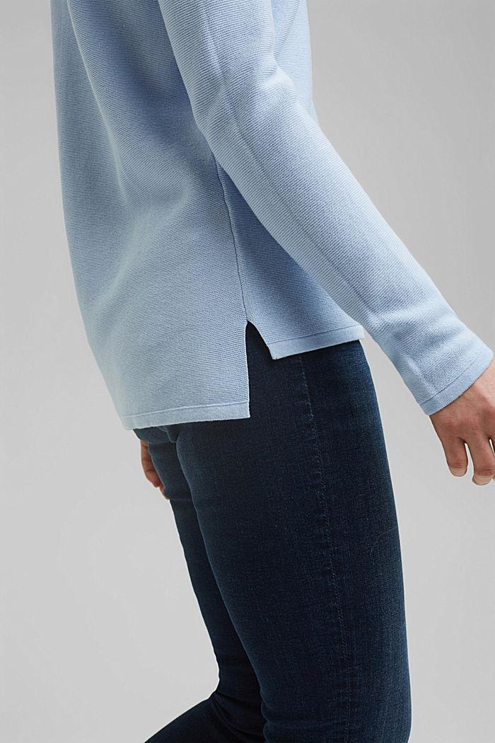V-neck jumper made of organic cotton, PASTEL BLUE, detail image number 2