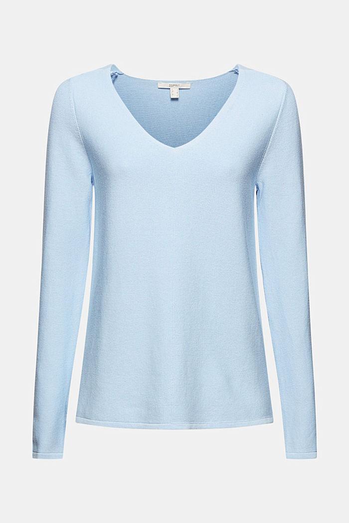 V-neck jumper made of organic cotton, PASTEL BLUE, detail image number 5