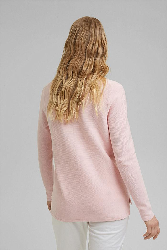 V-neck jumper made of organic cotton, LIGHT PINK, detail image number 3