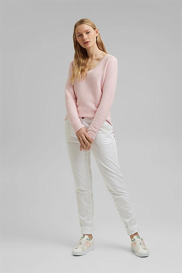 V-neck jumper made of organic cotton, LIGHT PINK, detail image number 1