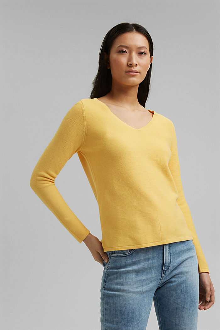 V-neck jumper made of organic cotton, SUNFLOWER YELLOW, detail image number 0