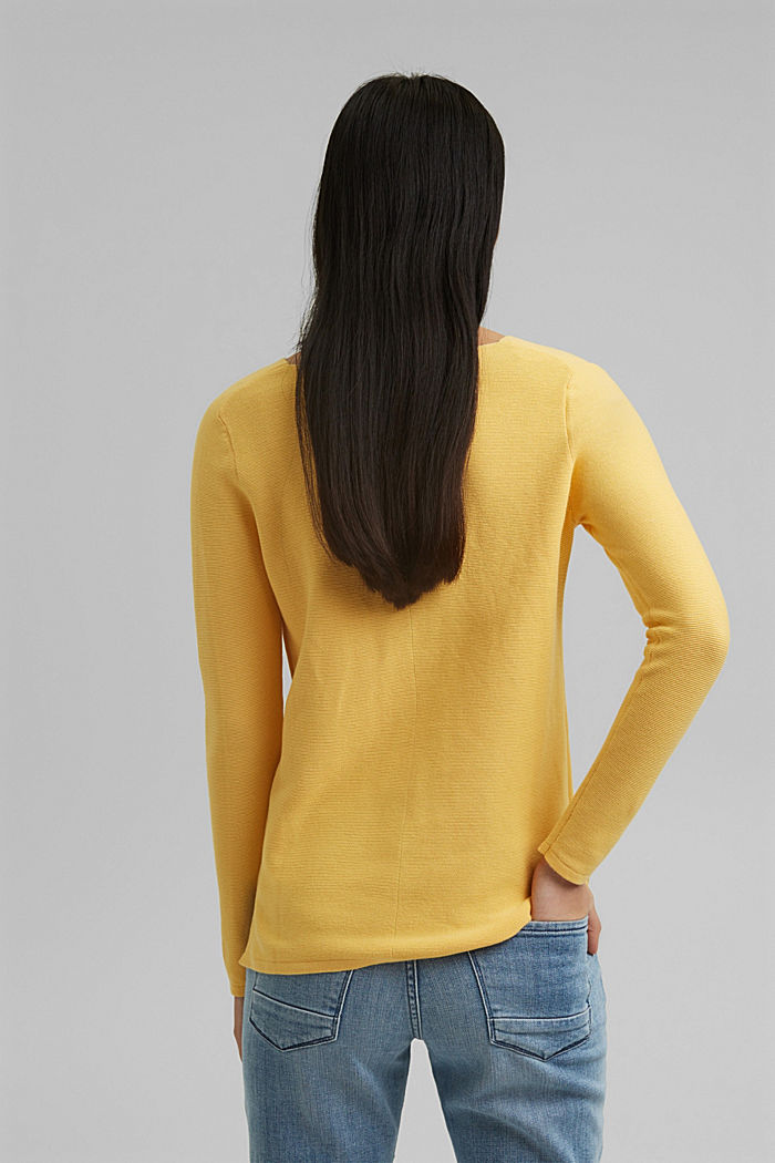 V-neck jumper made of organic cotton, SUNFLOWER YELLOW, detail image number 3