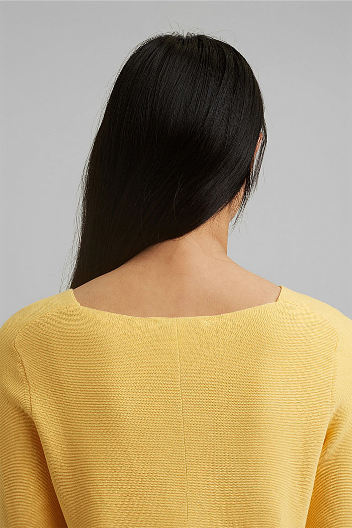 V-neck jumper made of organic cotton, SUNFLOWER YELLOW, detail image number 5