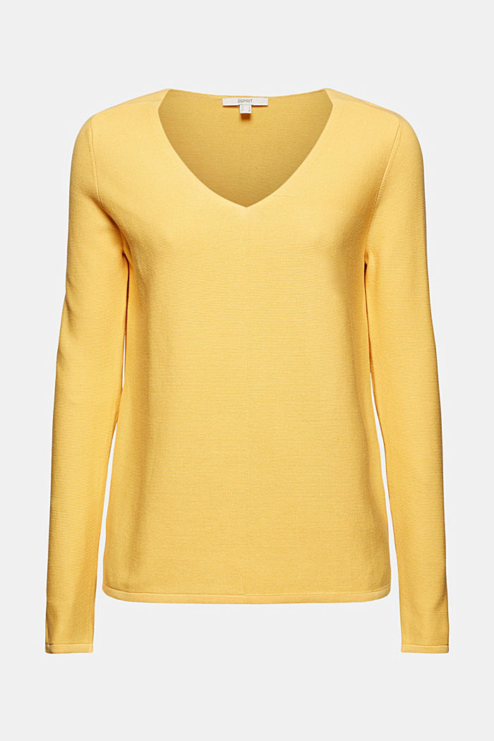 V-neck jumper made of organic cotton, SUNFLOWER YELLOW, detail image number 7
