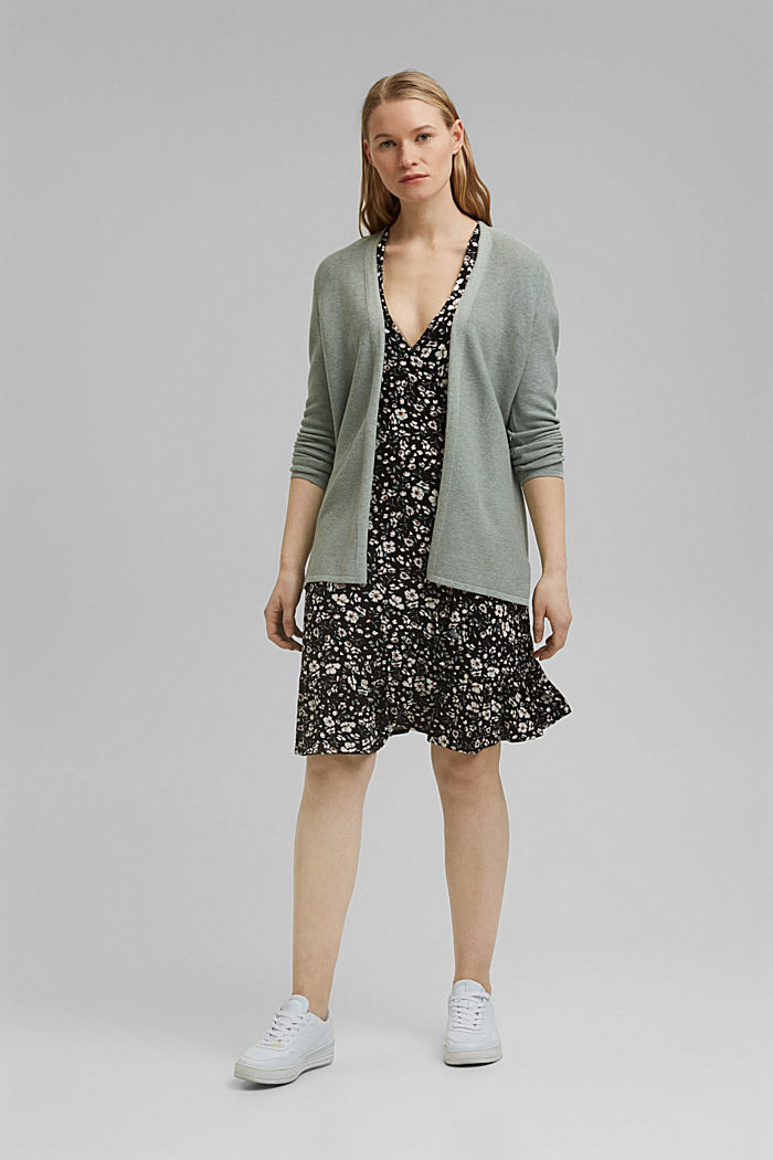 Cardigan made of 100% organic cotton, DUSTY GREEN, detail image number 1