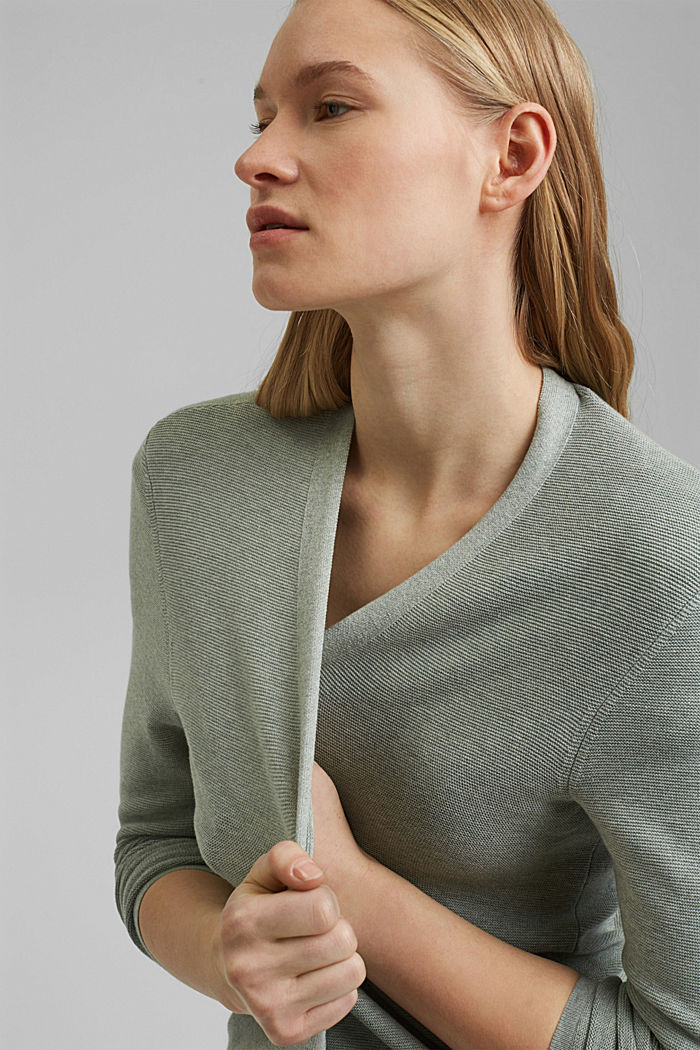 Cardigan made of 100% organic cotton, DUSTY GREEN, detail image number 4
